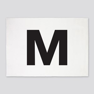 Letter M Black 5'x7'Area Rug