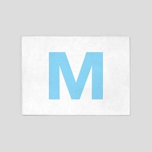Letter M Light Blue 5'x7'Area Rug