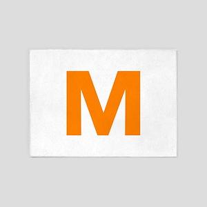 Letter M Orange 5'x7'Area Rug