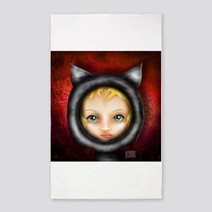 Whimsical Cat Girl on Red 3'x5' Area Rug