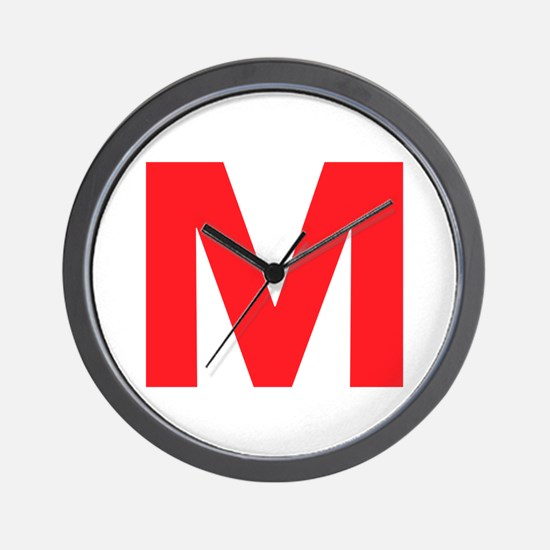 Letter M Red Wall Clock