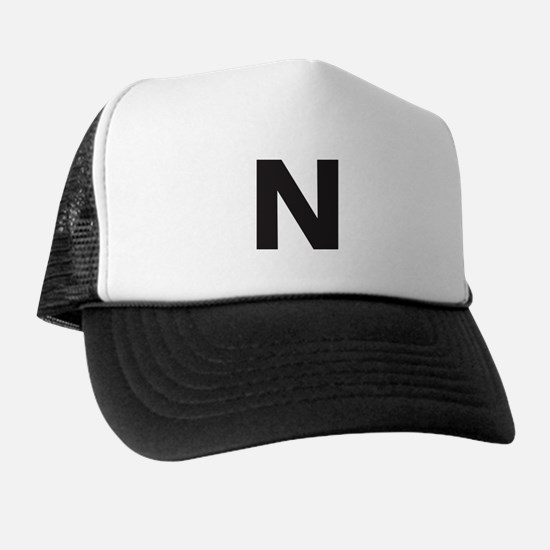 Letter N Black Trucker Hat