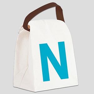 Letter N Blue Canvas Lunch Bag