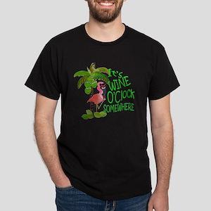 Wine O'Clock Flamingo Dark T-Shirt