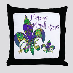 Mardi Gras Carnival Fleur de lis Throw Pillow