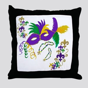 Mardi Gras Mask art Throw Pillow