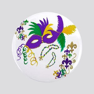 "Mardi Gras Mask art 3.5"" Button"