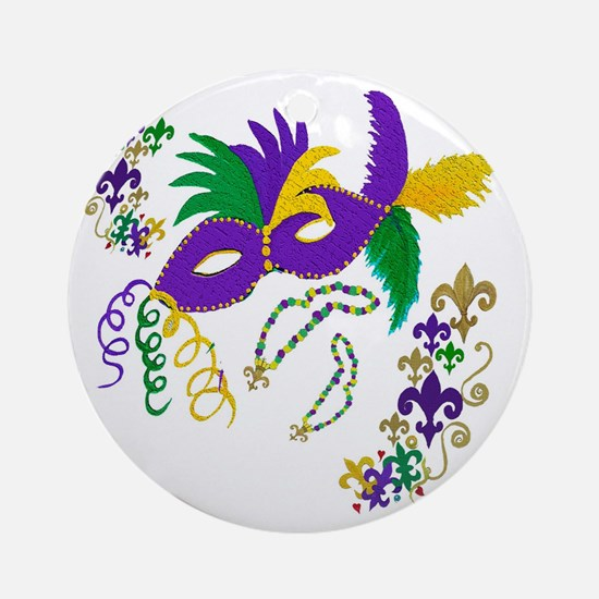 Mardi Gras Mask art Round Ornament