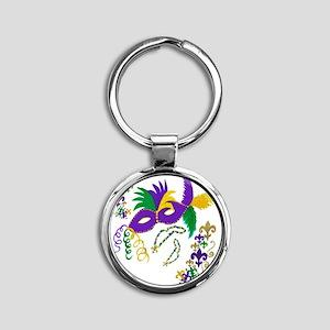 Mardi Gras Mask art Round Keychain