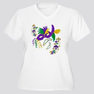 Mardi Gras Mask a Women's Plus Size V-Neck T-Shirt