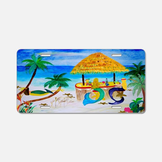 Mermaid Tiki Bar Aluminum License Plate