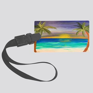 Tropical Beach Sunset Large Luggage Tag