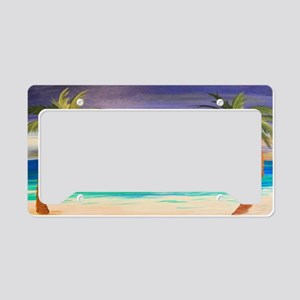 Tropical Beach Sunset License Plate Holder
