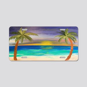 Tropical Beach Sunset Aluminum License Plate