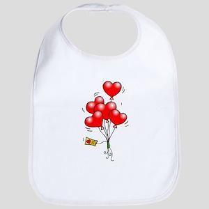 Valentines Day Heart Balloons Bib