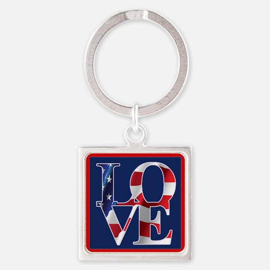 Patriotic Love America Square Keychain