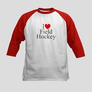 """I Love (Heart) Field Hockey"" Kids Baseball Jersey"