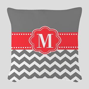Gray Coral Monogram Woven Throw Pillow