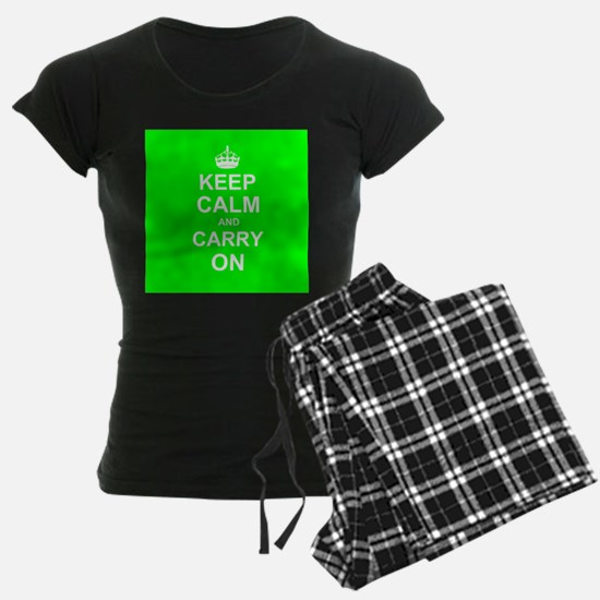 Keep Calm and Carry On - green pajamas