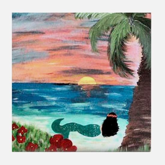 Aloha Mermaid Art Tile Coaster