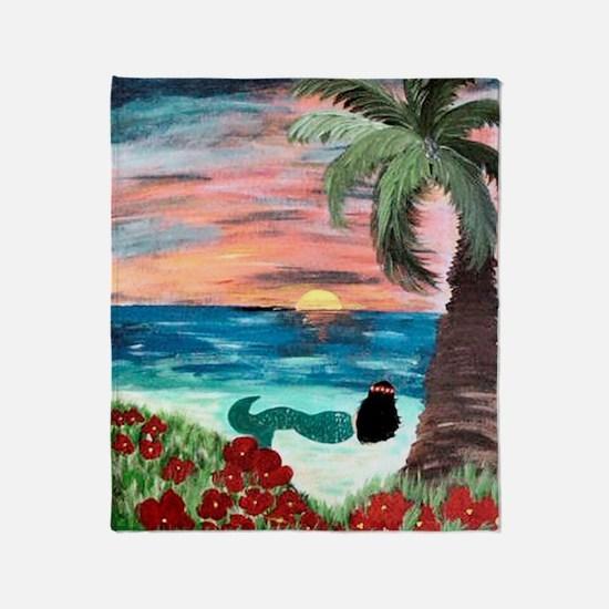 Aloha Mermaid Art Throw Blanket