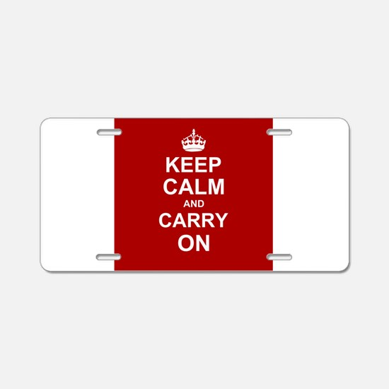 Keep Calm and Carry On - red Aluminum License Plat