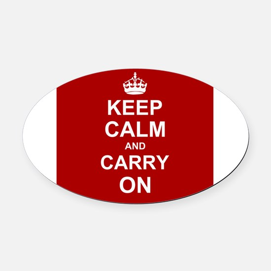 Keep Calm and Carry On - red Oval Car Magnet