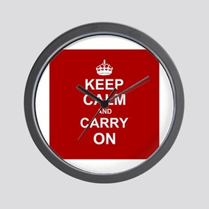 Keep Calm and Carry On - red Wall Clock