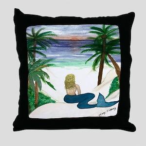 Blond Mermaid Throw Pillow