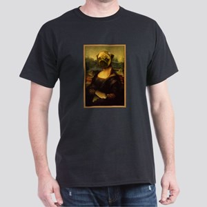 Mona Lisa Pug Dark T-Shirt