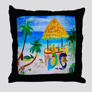 Mermaids Tiki Bar Throw Pillow