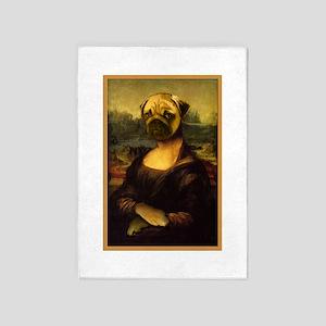 Mona Lisa Pug 5'x7'Area Rug