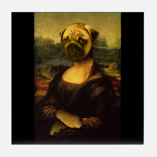Mona Lisa Pug Tile Coaster