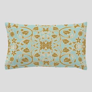 Modern Damask Floral Leaf Tendril Aqua Blue n Gold