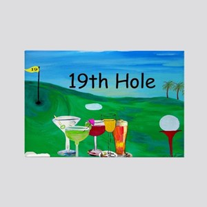 Golf art 19th hole Rectangle Magnet
