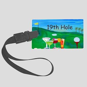 Golf art 19th hole Large Luggage Tag