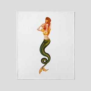 Vintage Pin Up Mermaid ~ Autumn  Throw Blanket