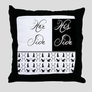 her,his, cat Throw Pillow