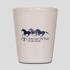 horse hoofprints psd Shot Glass