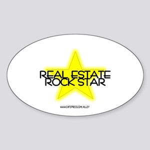 Real Estate Rock Star Oval Sticker