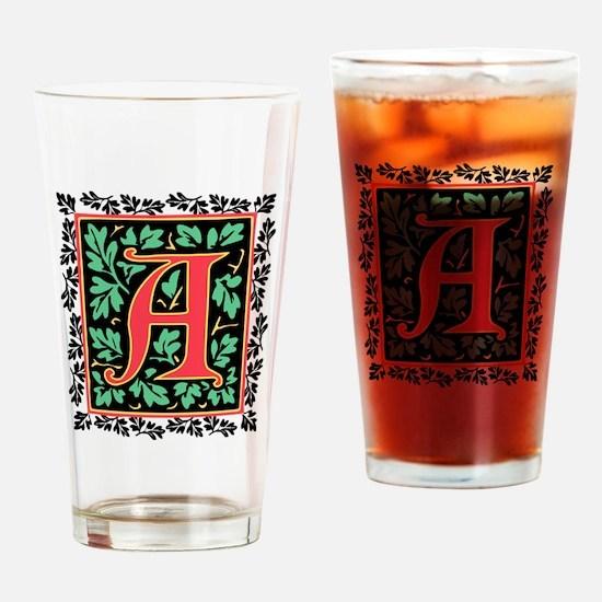 Elegant Medieval Monogram A Drinking Glass
