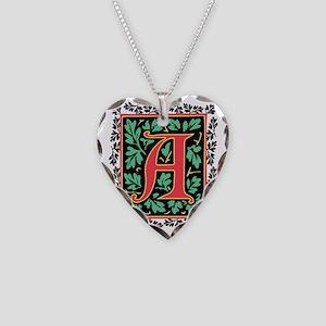 Elegant Medieval Monogram A Necklace Heart Charm