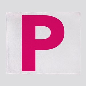 Letter P Pink Throw Blanket