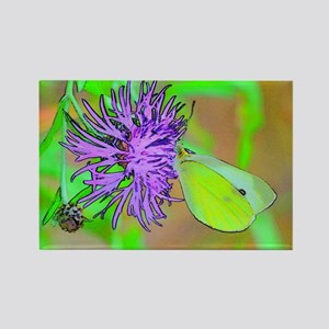 Buterfly and Flower Rectangle Magnet