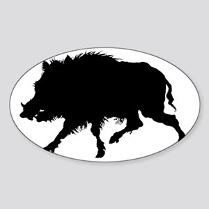 Wild Boar Running Wild Sticker (Oval)