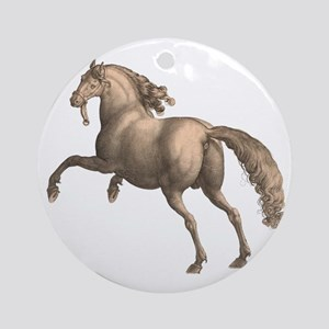 Andalusian Horse Galloping Stallion Round Ornament