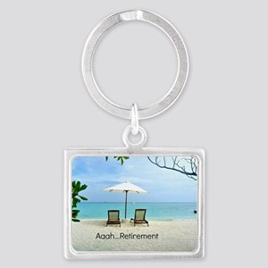Aaah...Retirement, tropical bea Landscape Keychain