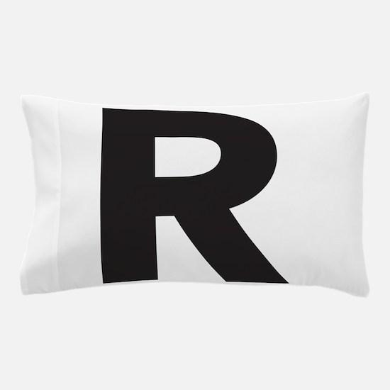 Letter R Black Pillow Case