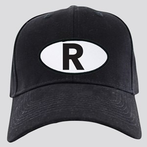 Letter R Black Baseball Hat