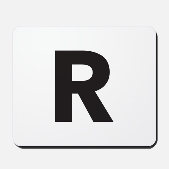 Letter R Black Mousepad